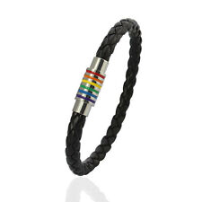 Leather Wrap Wristband Colorful Stainless Steel Magnetic Buckle Bracelet Bangle