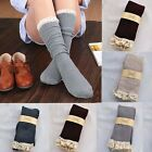 Women Crochet Lace Knee High Socks Trim Cotton Boot Stockings Knit Leg Warmers