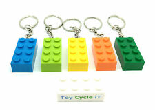 LEGO 5 x Brick Keyrings Blue Lime Yellow Orange & Green Key Chain New Party bag