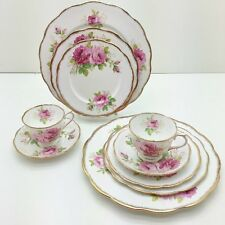Royal Albert American Beauty Pink Roses 2 Place Settings Plates, Cup, Saucers