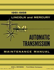1951-1958 Lincoln Mercury Automatic Transmission Shop Service Repair Manual Auto