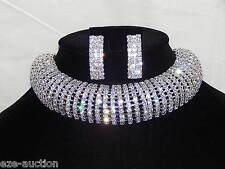 Bridal Wedding 10 Row Clear Rhinestone Arch Silver Choker Necklace, Earrings Set