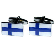 White & Blue Finland Flag Cufflinks With Gift Pouch Finnish Country Flags New