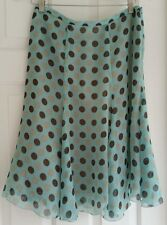 WORTHINGTON TWIRLY BLUE AND BROWN POLKA DOT LINED SKIRT SIZE 10