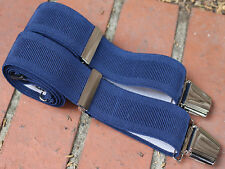 Navy Blue Wide Elastic Adjustable Trouser Braces 35mm 4 Heavy Duty Clasps