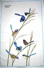 """Australian Wrens"" Australian Designed Blue Wren Cotton Bird Tea Towel - White"
