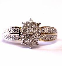 10k yellow gold .23ct SI1 I diamond cluster ring band 2.9g estate womens vintage