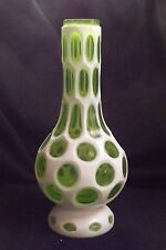 "Antique Chinese 12""Tall Peking Cameo Milk to  ICE Green Glass Vase Rare Color"