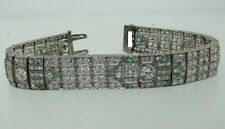 1960's Cartier Paris Platinum Diamond & Emerald 22.8 carat Bracelet Estate Sale