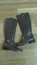 Michael Kors Charm Riding Womens  Leather Light Mocha Boots Size 5.5 New