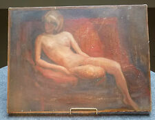 Vintage Oil Painting NUDE RECLINING WOMAN Modernism Impressionist not Odalisque