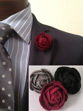 Men's Felt Flower Lapel Pin - Set of (3) Black, Grey, Cranberry