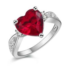 Luxury 925 Silver Ring Womens Wedding Red Heart Zircon jewelry Xmas Gift Size 8