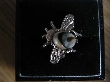 A Lovely Vintage White Metal Bug Brooch with an Abalone Shell Insert