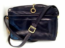 "VTG "" PERLINA "" BLACK BUTTER SOFT LEATHER SHOULDER BAG w/ GOLDTONE TRIM - EXC!"
