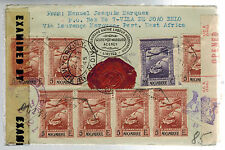1945 Lorenzo Marques Mozambique Censored Cover to Montgomery Ward USA Wax Seal