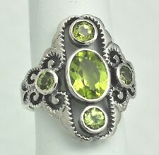 Peridot peridots, bel Anello #54, Argento 925 ~~~ antico Style ~~~ Sterling Argento