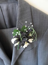 4 Black & Ivory Rose with Crystals Buttonhole Corsage Wedding Flowers Artificial