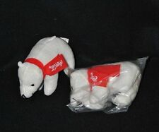 Lot 2 peluche doudou ours polaire blanc COCA COLA écharpe rouge 12 cm long NEUF