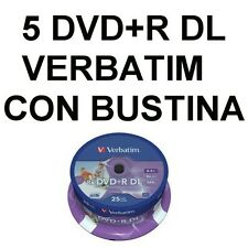 5 DVD+R DL DUAL LAYER 8,5 GB VERBATIM 8,5GB VERGINI VUOTI CON BUSTINE CON ALETTA