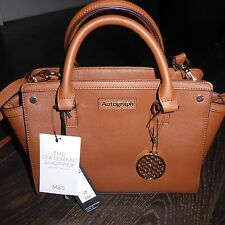 BNWT M&S AUTOGRAPH Tan Leather Trim Tote Bag with Brass Fob / Charm RRP £55.