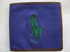 NWT Polo Ralph Lauren Men's Canvas Big Pony Bifold Wallet Squire Purple