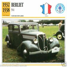 BERLIET 944 1932 1938 CAR VOITURE FRANCE CARTE CARD FICHE