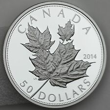 Canada 2014 $50 Maple Leaf in High Relief - 5 Troy oz. Pure Silver Proof Coin