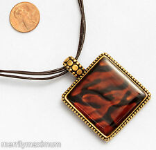 Chico's Signed Necklace Gold Tone Black & Amber Color Enamel Square Pendant