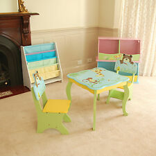 Brand New Blue Wooden Hand Paint Kids Boys Animal Table & 2 Chair Set Furniture