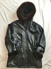 Marc New York by Andrew Marc Black Leather Hooded Jacket Coat Fox Fur Trim S