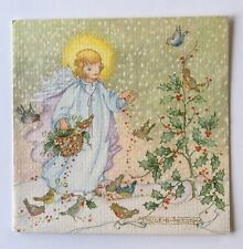 Unused Vintage Christmas Card Angel Child Tree Snow Bird Holly Kristin Elliott