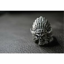 Stamped 925 Sterling Silver Indian Horn Skull Ring for Harley Davidson Biker