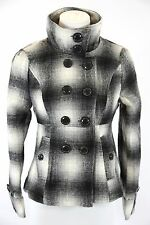 Black & White Plaid Check Tweed Double Breasted Soft Jacket Small $249 BNWT