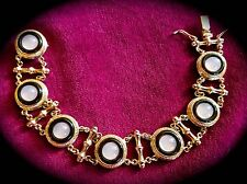 ~WOW! New Italian Rose Gold 925 Silver Medallion Cabochon BRACELET moon stones