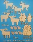 Wooden Laser Cut Shapes Miniature Reindeer Christmas Decorations other choices