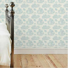 Toile de Jouy Wallpaper Duck Egg Light Blue Romantic French Style Country Love