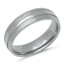 Double Grooved 6mm Titanium Wedding Band Court Ring