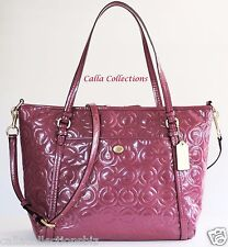 New COACH Peyton Op Art Embossed Patent Leather Pocket Tote Handbag/PurseF26038