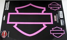 Harley Davidson decal sticker pink motorcycle ride silhouette set  chrome shield