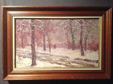 Tableau ancien Impressionniste Huile toile Paysage de Neige signé à identifier
