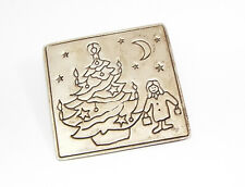 Vintage signed MEXICO 925 sterling silver CHRISTMAS Tree BROOCH pin girl stars