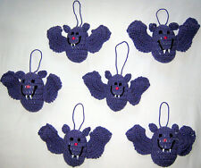 6 HANDMADE Knit CROCHET Hang BATS for HALLOWEEN Holiday CHRISTMAS Tree ORNAMENTS