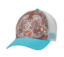 Ariat Womens Hat Baseball Cap Paisley One Size Blue Brown 1543827