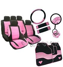 Girly PINK Steering Wheel Belt Leather Look Seat Covers Car set Mats FURRY DICE