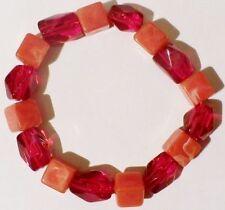 bracelet bijou rétro perles déco rouge sur support extensible * 4350