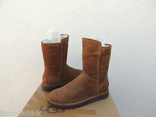 UGG COLLECTION SHORT ABREE BRUNO BROWN SUEDE SHEARLING BOOTS, US 7/ EUR 38 ~NEW