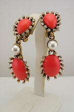 Oscar de la Renta Simulated Coral Cabochon Drop Clip-On Earrings
