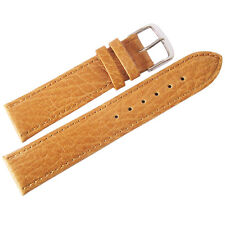 20mm Mens Fluco Record Tan Buffalo-Grain Leather German Made Watch Band Strap