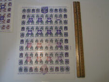 Historical badges Coat of Arms UKRAINE 1992 Overprint Russian Stamps sheet of 50